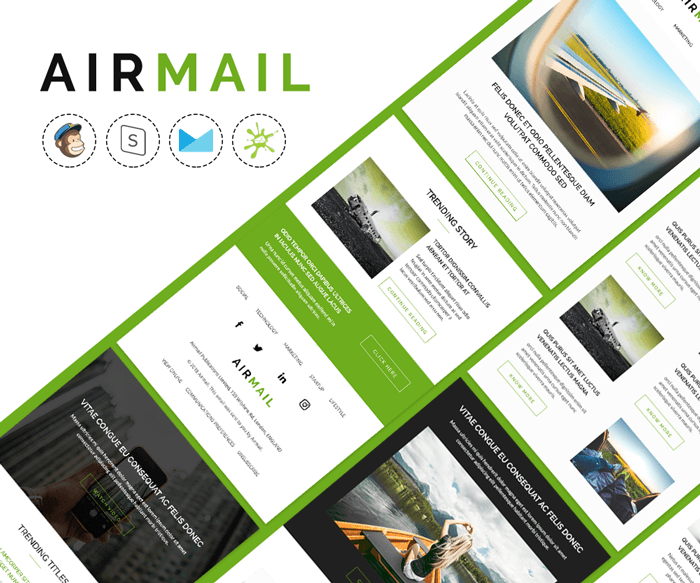 Airmail - Responsive blogging email template preview