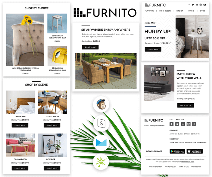 Furnito - Responsive eCommerce email template preview